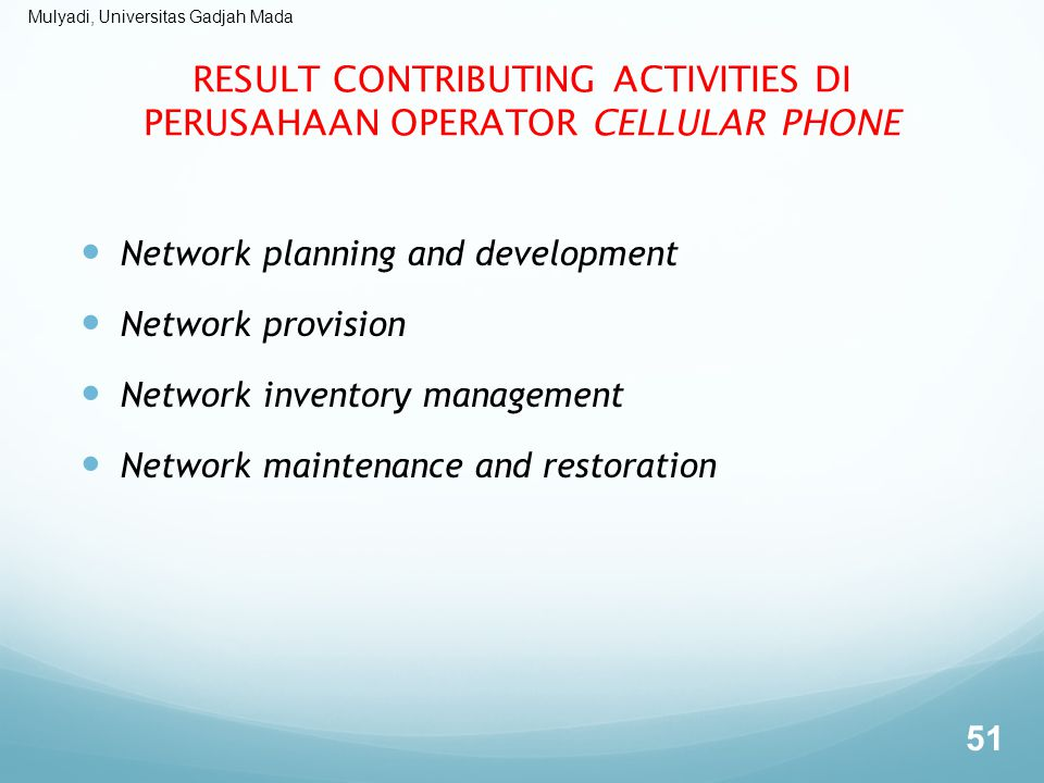 RESULT CONTRIBUTING ACTIVITIES DI PERUSAHAAN OPERATOR CELLULAR PHONE