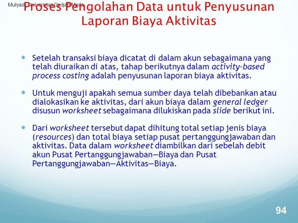 Proses Pengolahan Data untuk Penyusunan Laporan Biaya Aktivitas