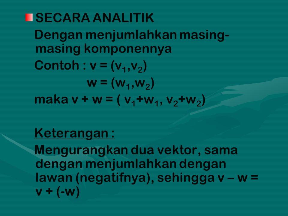 SECARA ANALITIK Dengan menjumlahkan masing- masing komponennya. Contoh : v = (v1,v2) w = (w1,w2) maka v + w = ( v1+w1, v2+w2)