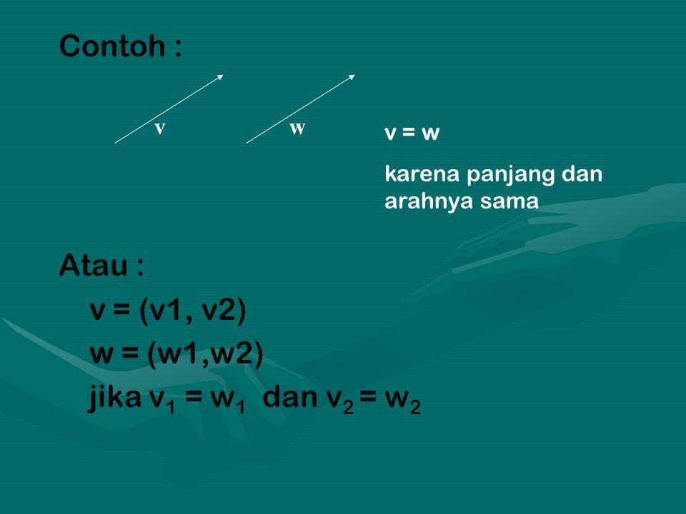 Contoh : Atau : v = (v1, v2) w = (w1,w2) jika v1 = w1 dan v2 = w2 v w