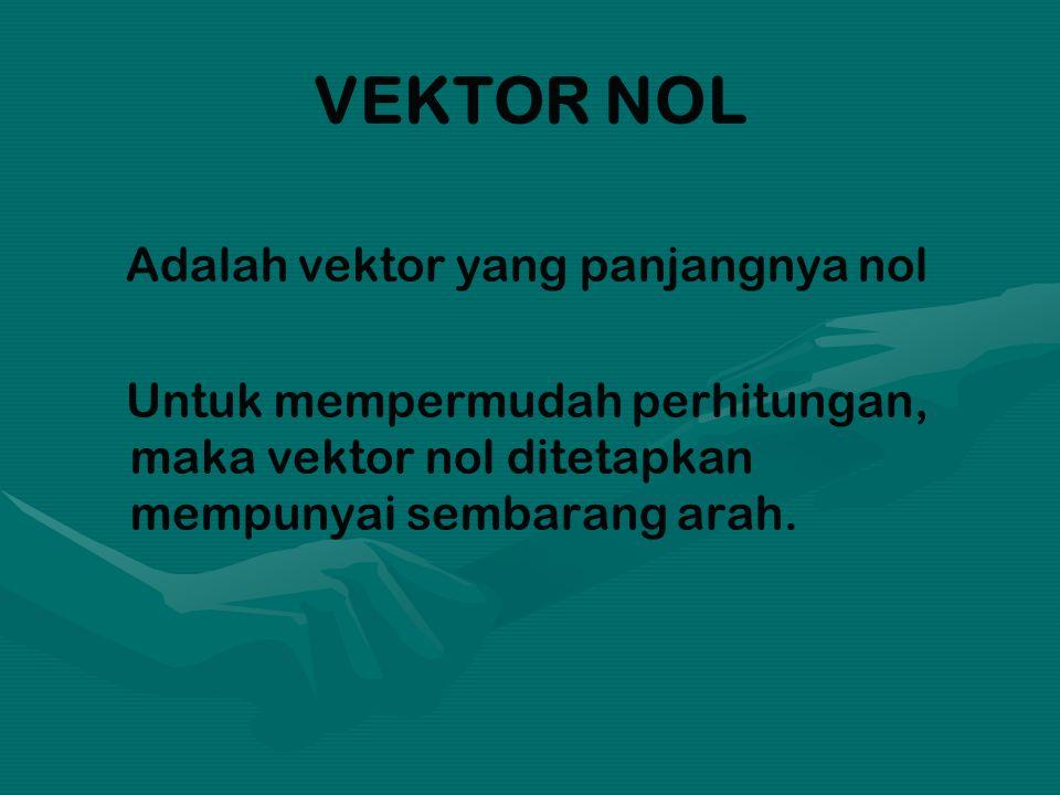 VEKTOR NOL Adalah vektor yang panjangnya nol