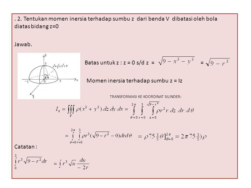 Batas untuk z : z = 0 s/d z = = Momen inersia terhadap sumbu z = Iz