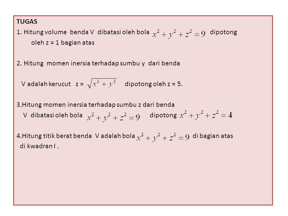 TUGAS 1. Hitung volume benda V dibatasi oleh bola dipotong. oleh z = 1 bagian atas.