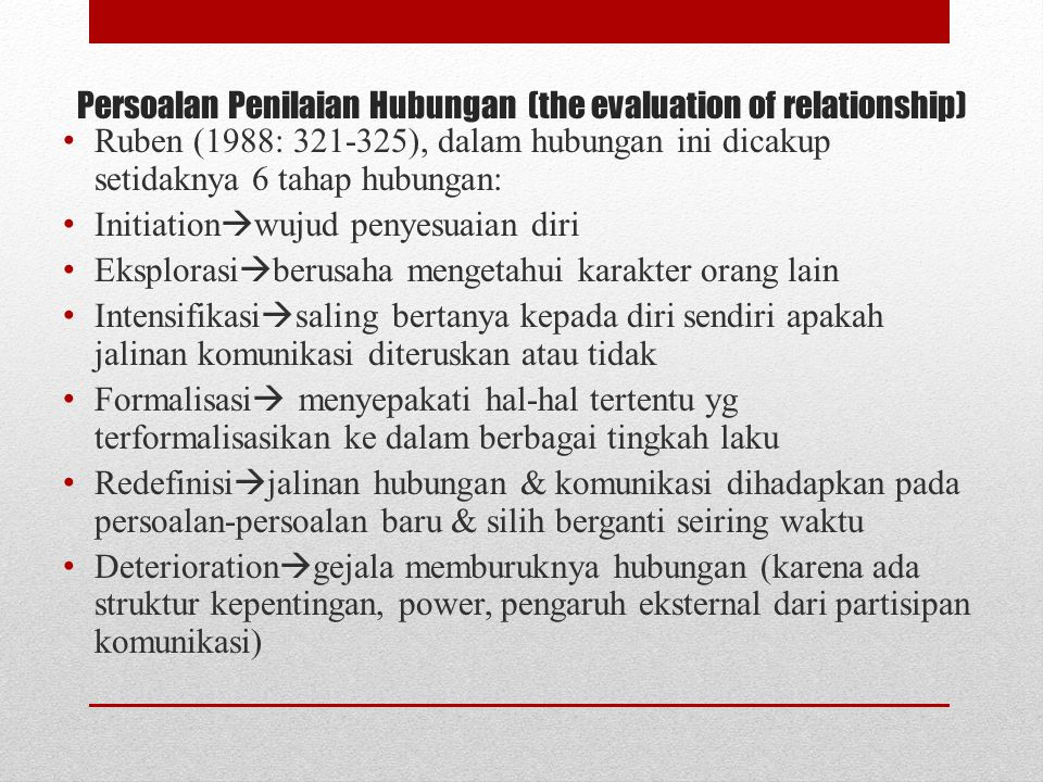 Persoalan Penilaian Hubungan (the evaluation of relationship)