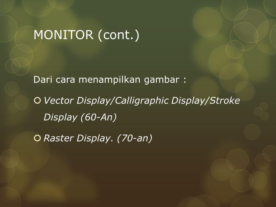 MONITOR (cont.) Dari cara menampilkan gambar :