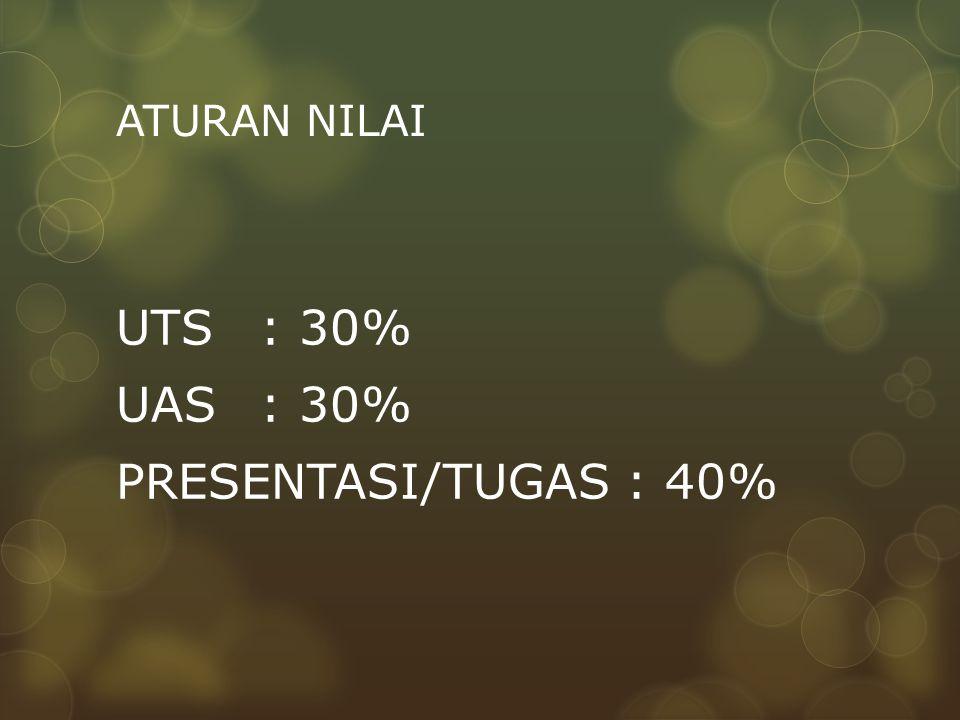 UTS : 30% UAS : 30% PRESENTASI/TUGAS : 40%