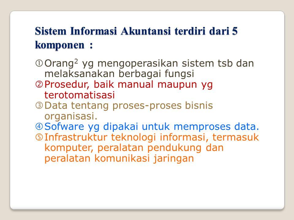 Sistem Informasi Akuntansi terdiri dari 5 komponen :