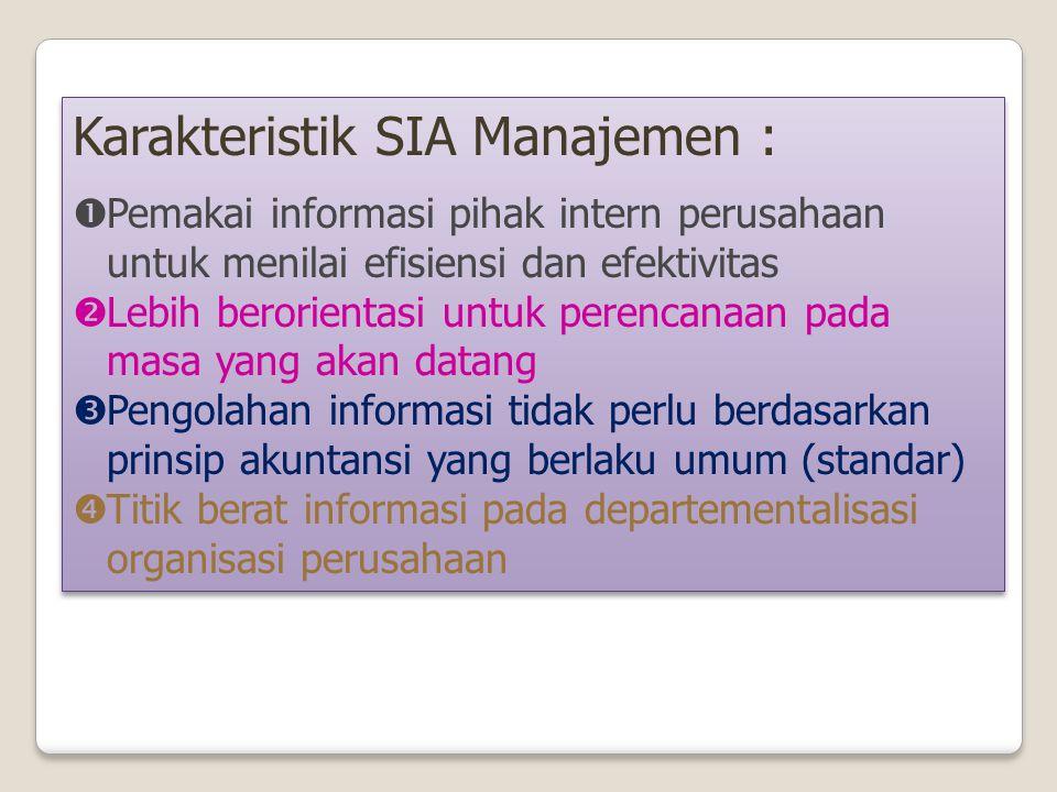 Karakteristik SIA Manajemen :