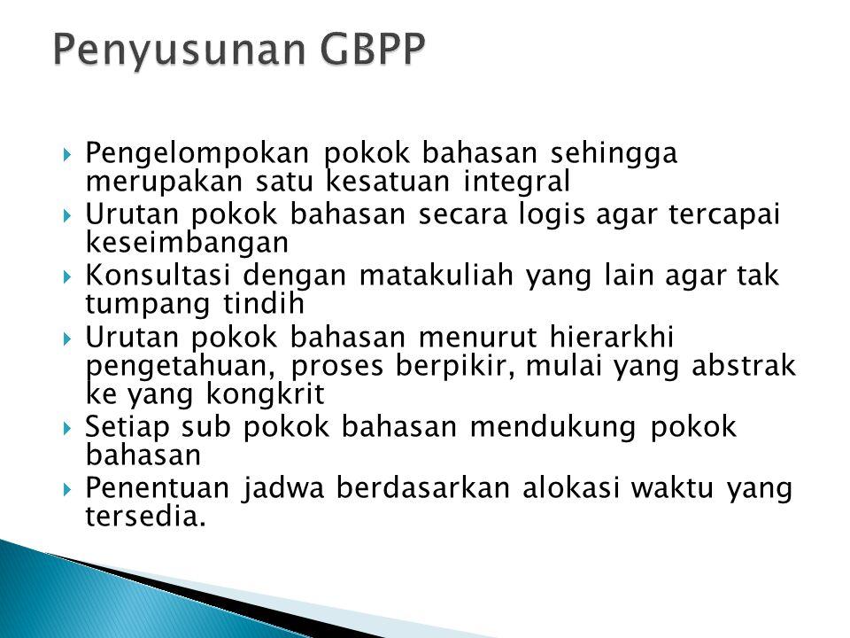 Penyusunan GBPP Pengelompokan pokok bahasan sehingga merupakan satu kesatuan integral.