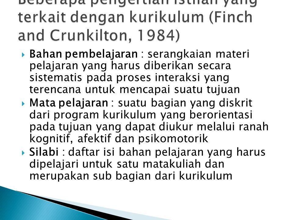 Beberapa pengertian istilah yang terkait dengan kurikulum (Finch and Crunkilton, 1984)