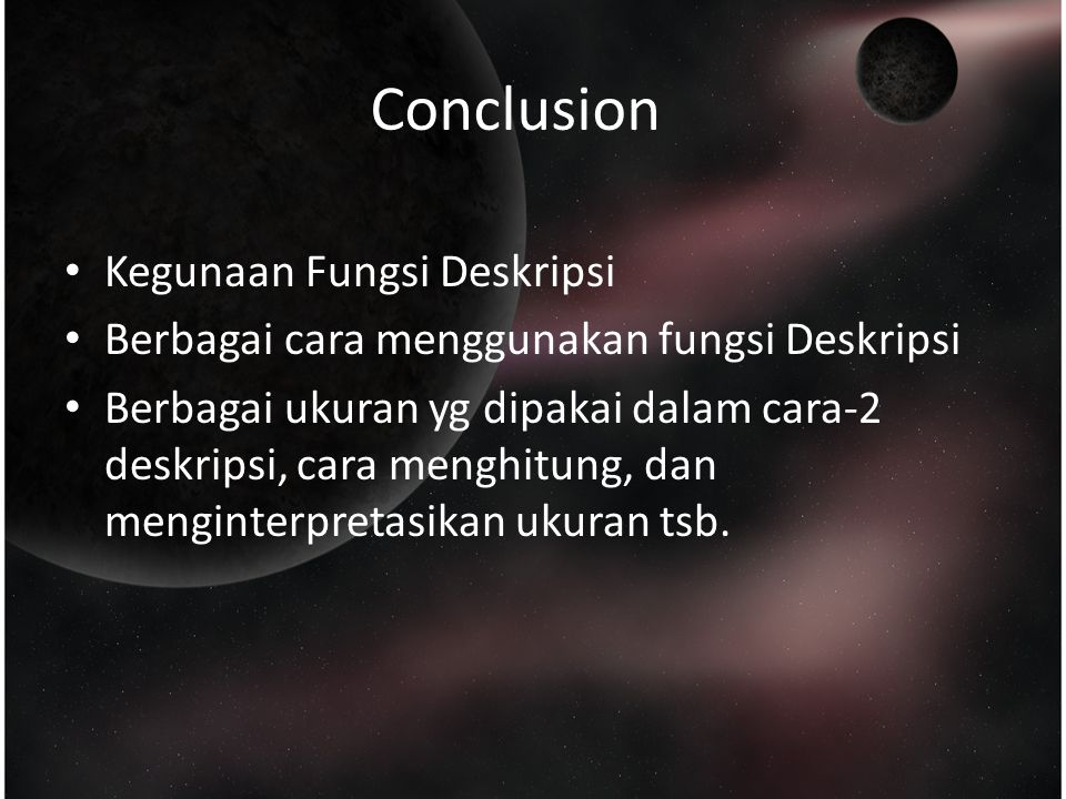 Conclusion Kegunaan Fungsi Deskripsi
