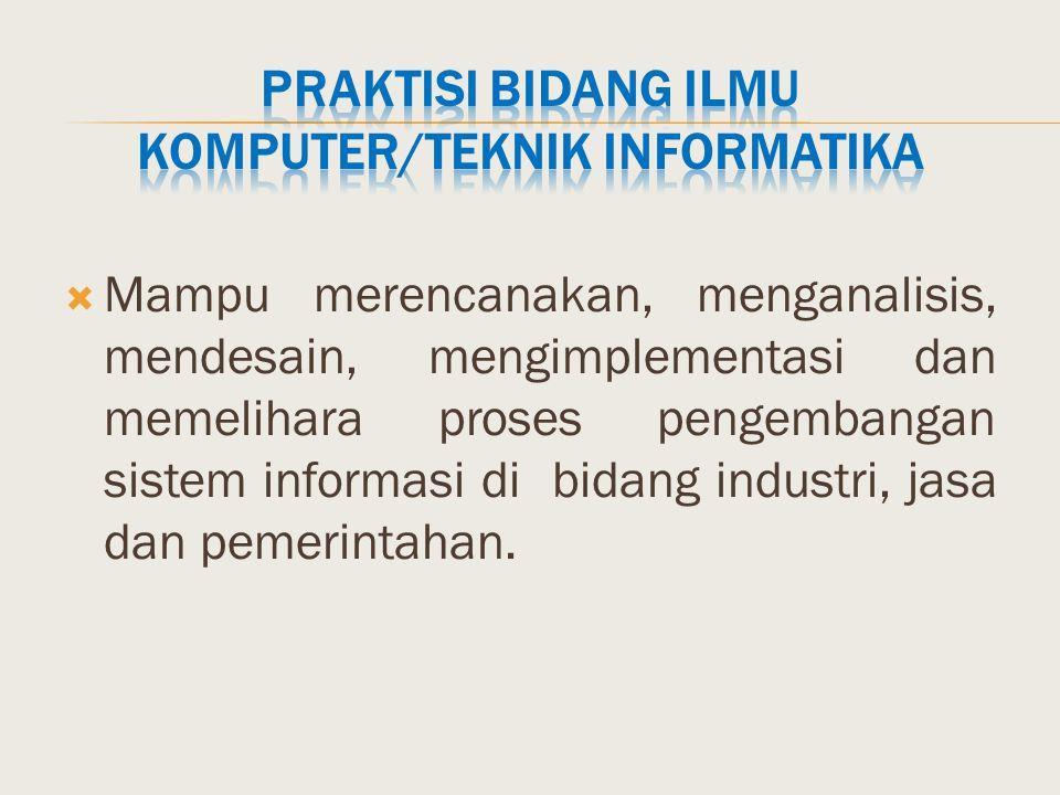 Praktisi bidang Ilmu Komputer/Teknik Informatika