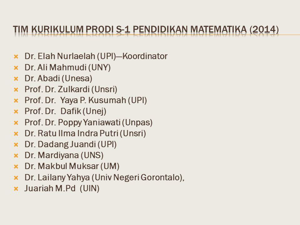 Tim kurikulum Prodi s-1 pendidikan matematika (2014)