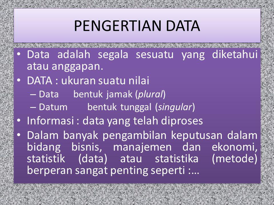 PENGERTIAN DATA Data adalah segala sesuatu yang diketahui atau anggapan. DATA : ukuran suatu nilai.