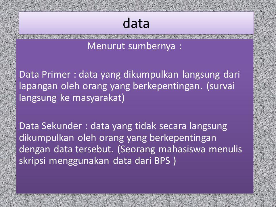 data Menurut sumbernya :