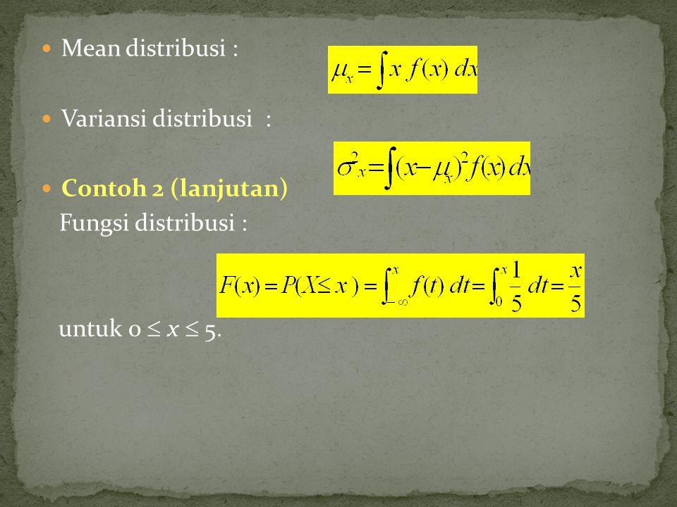 Mean distribusi : Variansi distribusi : Contoh 2 (lanjutan) Fungsi distribusi : untuk 0  x  5
