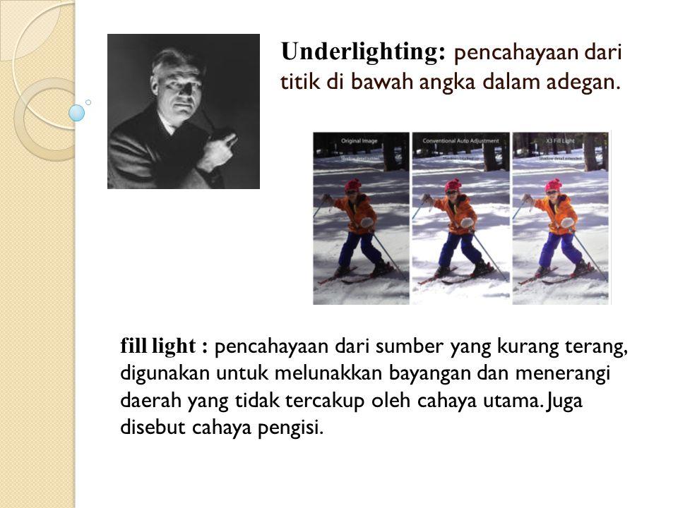 Underlighting: pencahayaan dari titik di bawah angka dalam adegan.