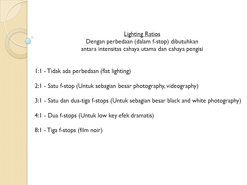 Lighting Ratios Dengan perbedaan (dalam f-stop) dibutuhkan antara intensitas cahaya utama dan cahaya pengisi.