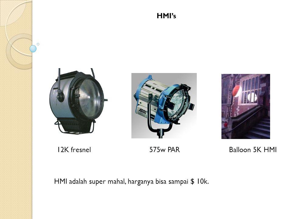 HMI's 12K fresnel 575w PAR Balloon 5K HMI HMI adalah super mahal, harganya bisa sampai $ 10k.