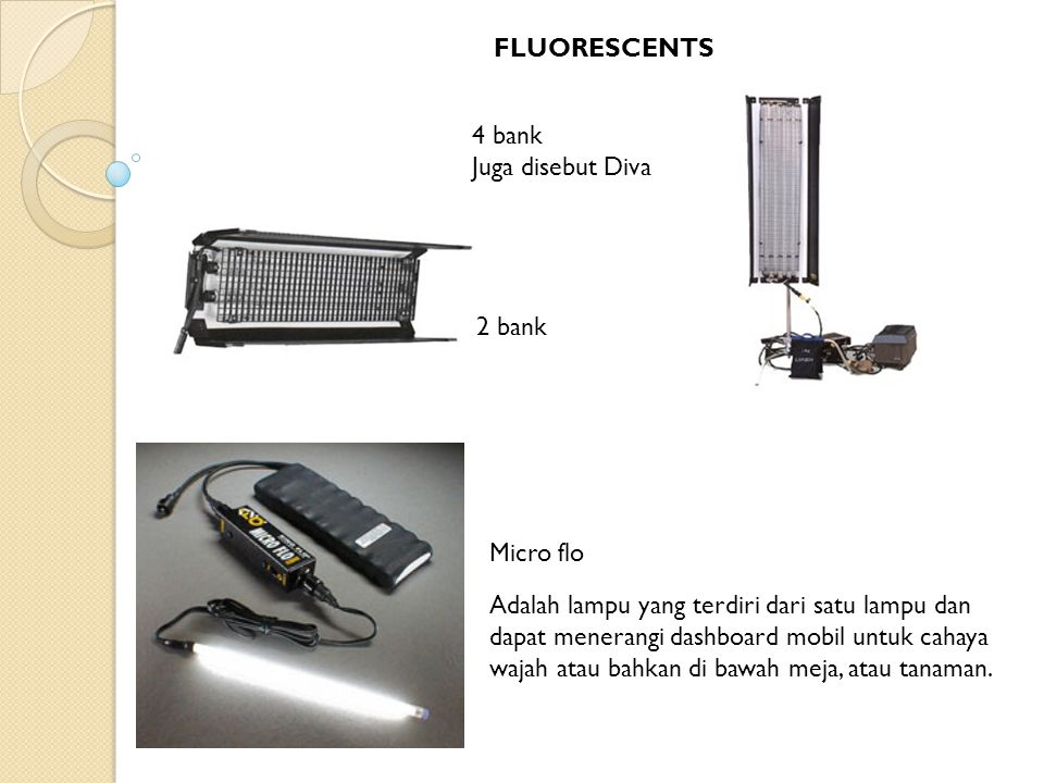 FLUORESCENTS 4 bank. Juga disebut Diva. 2 bank. Micro flo.