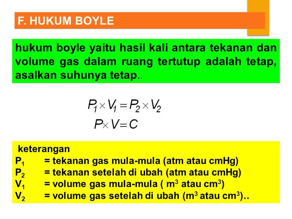 F. HUKUM BOYLE hukum boyle yaitu hasil kali antara tekanan dan volume gas dalam ruang tertutup adalah tetap, asalkan suhunya tetap..