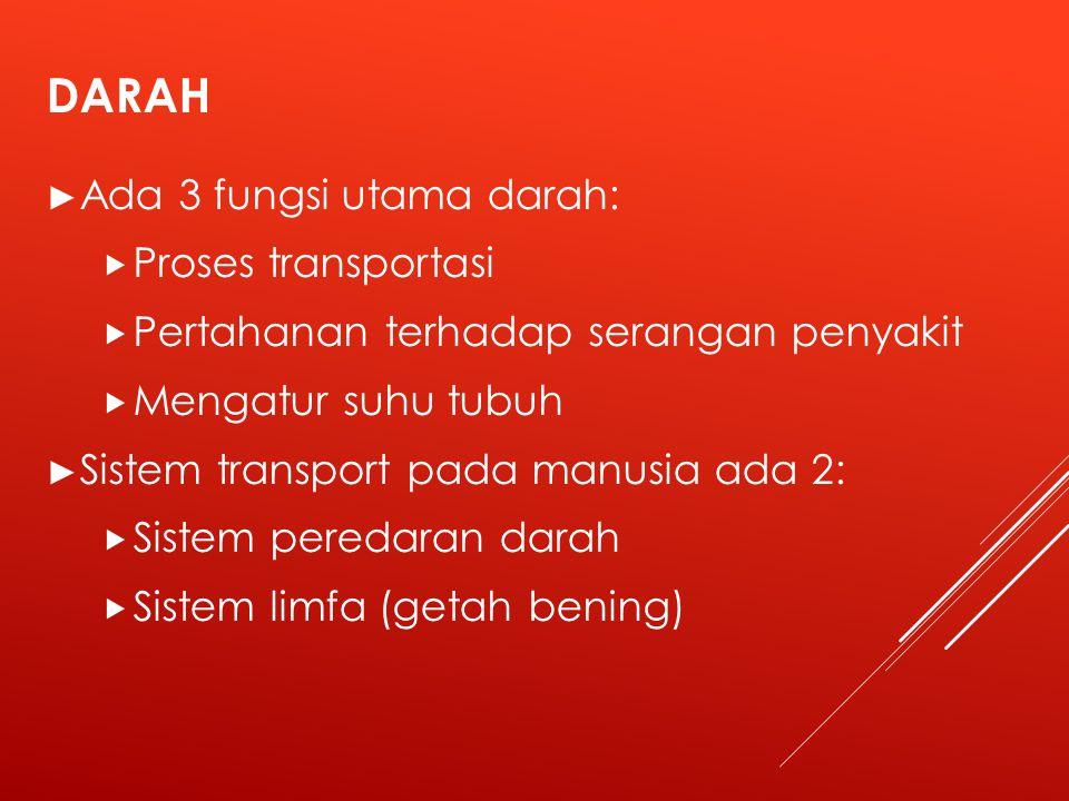 DARAH Ada 3 fungsi utama darah: Proses transportasi
