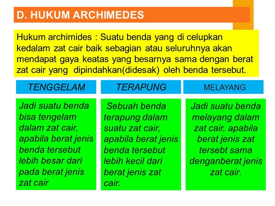 D. HUKUM ARCHIMEDES