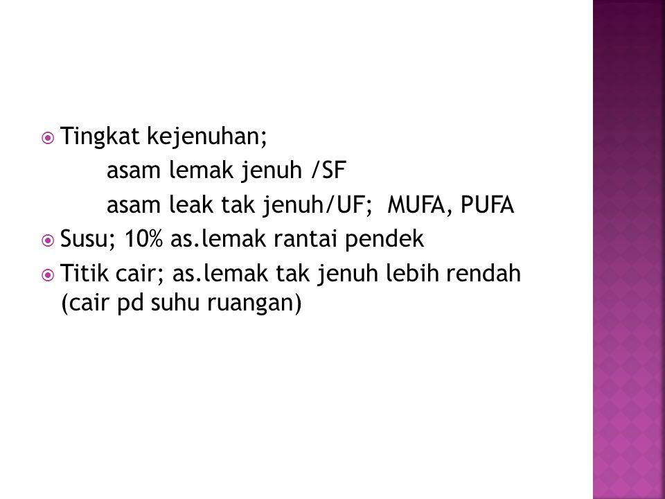 Tingkat kejenuhan; asam lemak jenuh /SF. asam leak tak jenuh/UF; MUFA, PUFA. Susu; 10% as.lemak rantai pendek.