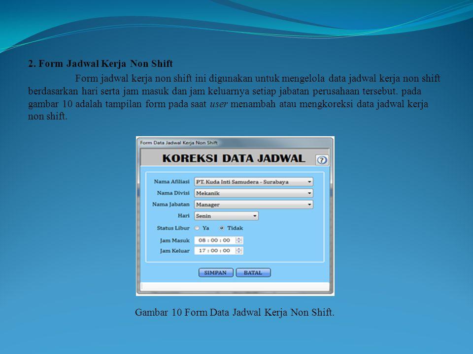 Gambar 10 Form Data Jadwal Kerja Non Shift.