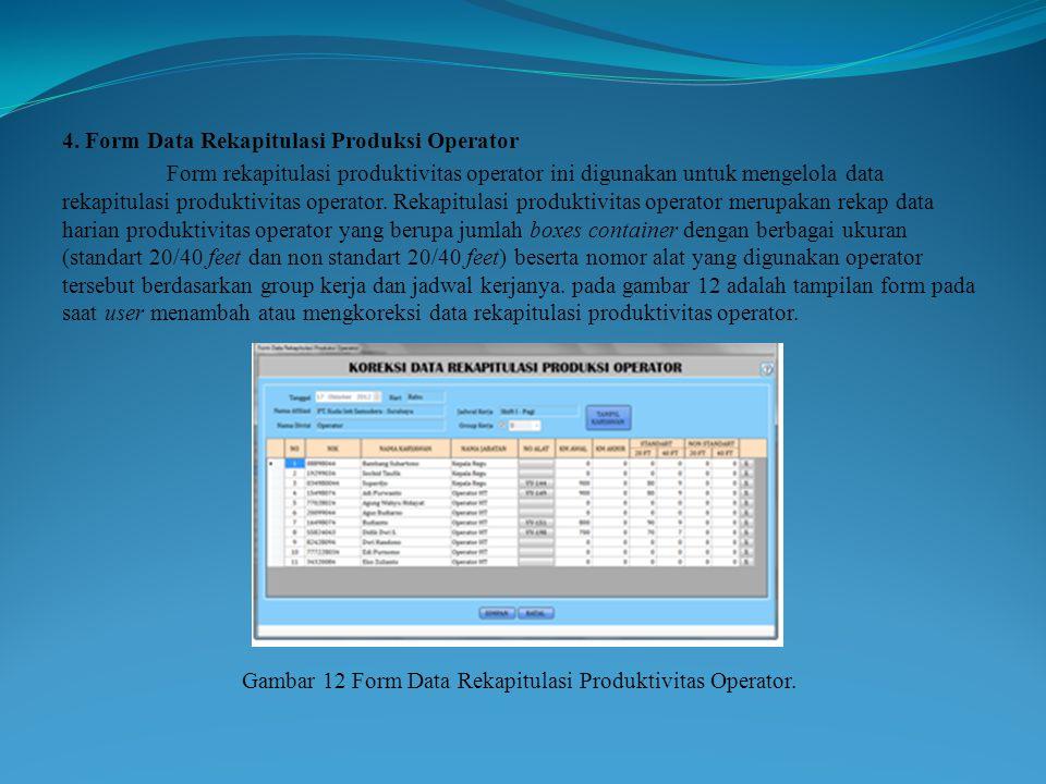 Gambar 12 Form Data Rekapitulasi Produktivitas Operator.