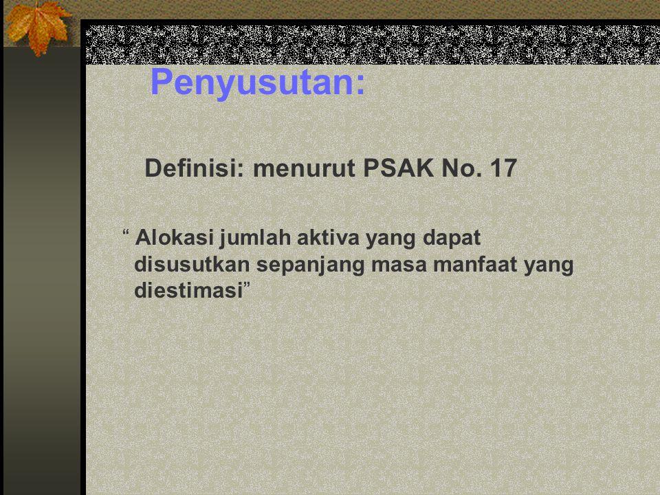 Penyusutan: Definisi: menurut PSAK No. 17