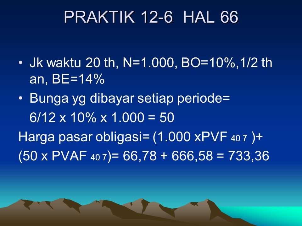 PRAKTIK 12-6 HAL 66 Jk waktu 20 th, N=1.000, BO=10%,1/2 th an, BE=14%