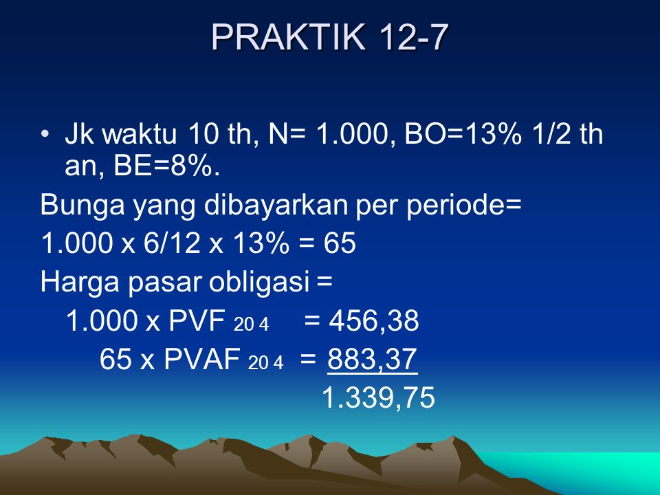 PRAKTIK 12-7 Jk waktu 10 th, N= 1.000, BO=13% 1/2 th an, BE=8%.