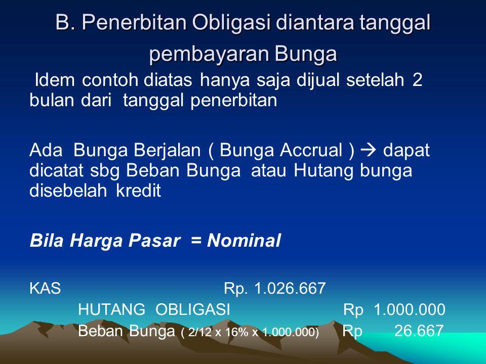 B. Penerbitan Obligasi diantara tanggal pembayaran Bunga