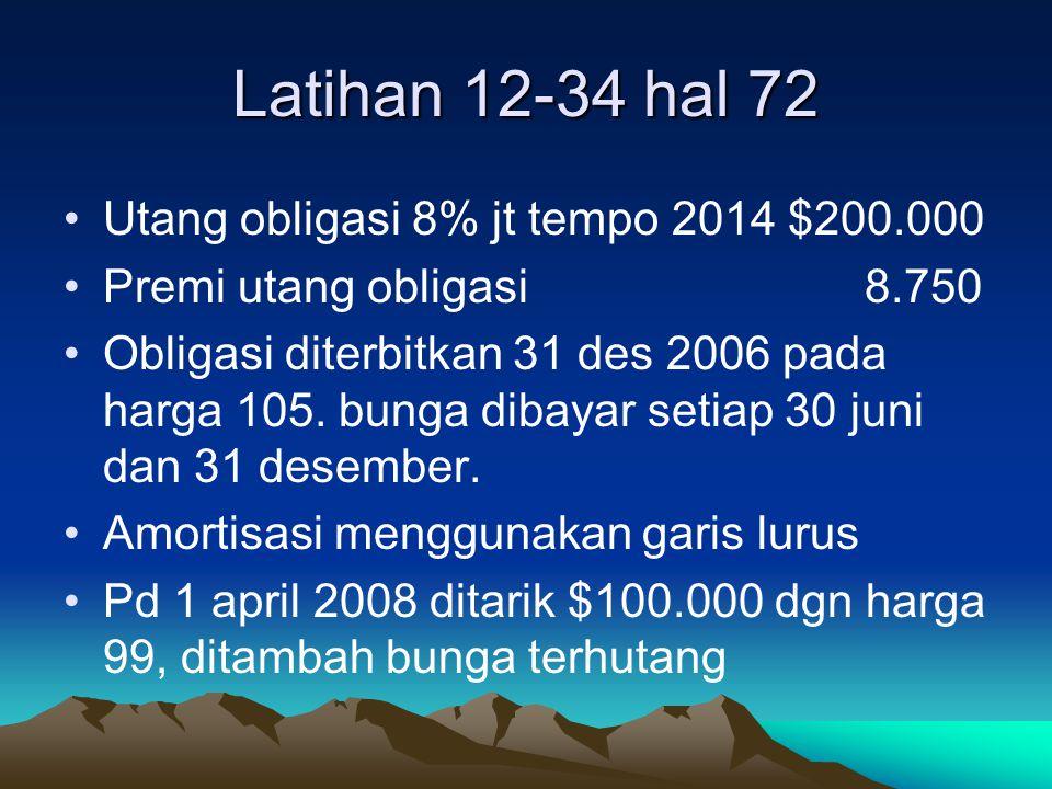 Latihan 12-34 hal 72 Utang obligasi 8% jt tempo 2014 $200.000
