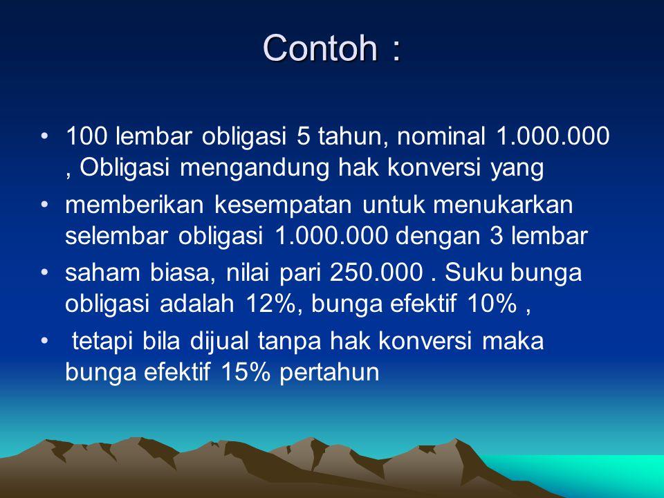 Contoh : 100 lembar obligasi 5 tahun, nominal 1.000.000 , Obligasi mengandung hak konversi yang.