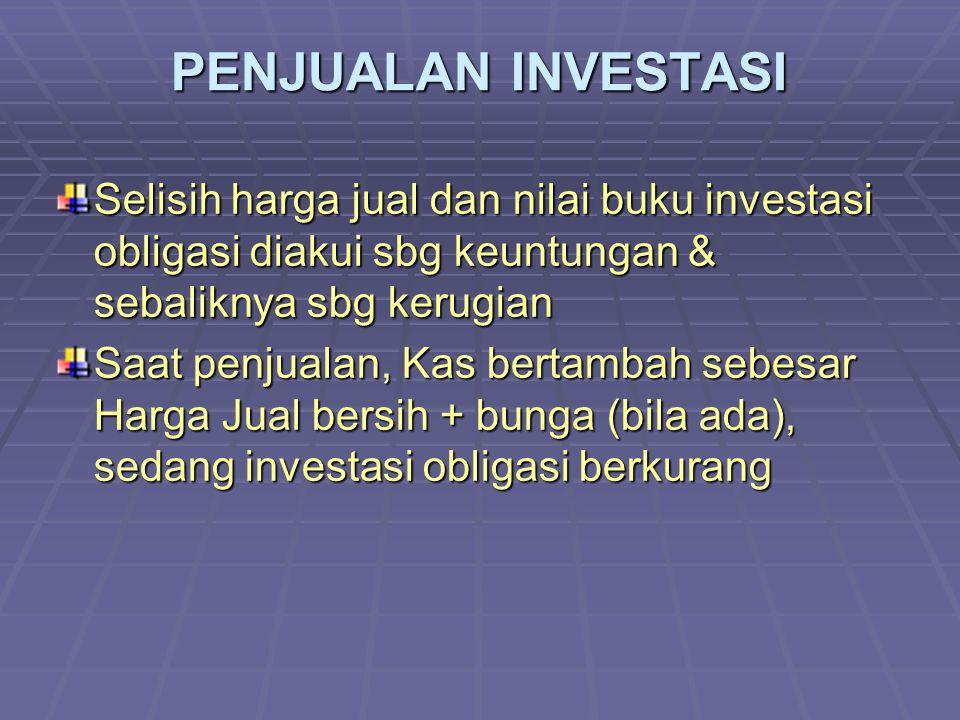 PENJUALAN INVESTASI Selisih harga jual dan nilai buku investasi obligasi diakui sbg keuntungan & sebaliknya sbg kerugian.