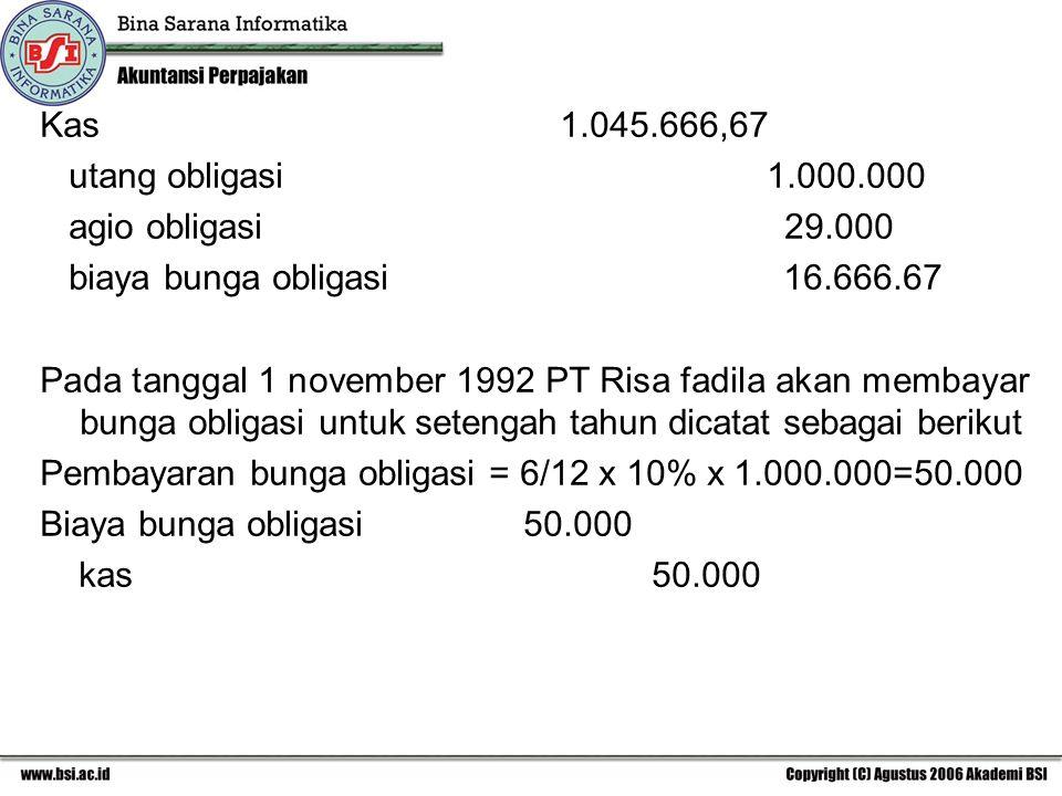 Kas 1.045.666,67 utang obligasi 1.000.000.
