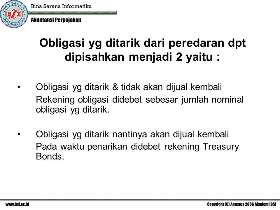 Obligasi yg ditarik dari peredaran dpt dipisahkan menjadi 2 yaitu :