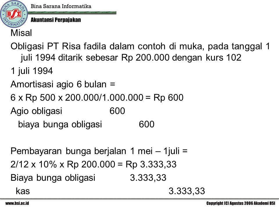 Misal Obligasi PT Risa fadila dalam contoh di muka, pada tanggal 1 juli 1994 ditarik sebesar Rp 200.000 dengan kurs 102.