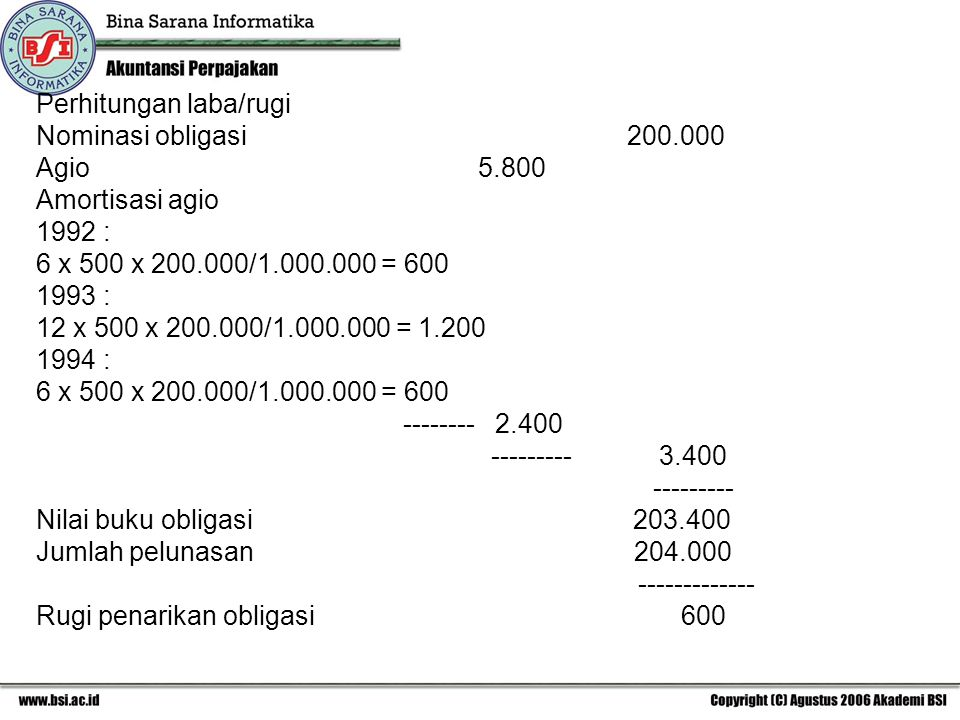 Perhitungan laba/rugi