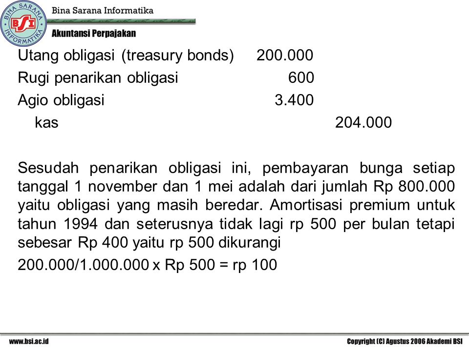 Utang obligasi (treasury bonds) 200.000