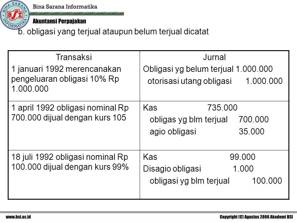 b. obligasi yang terjual ataupun belum terjual dicatat