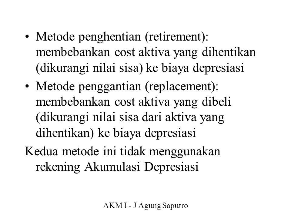 Kedua metode ini tidak menggunakan rekening Akumulasi Depresiasi