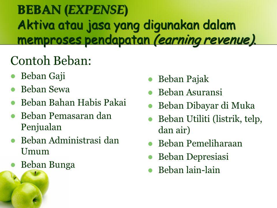 BEBAN (EXPENSE) Aktiva atau jasa yang digunakan dalam memproses pendapatan (earning revenue).