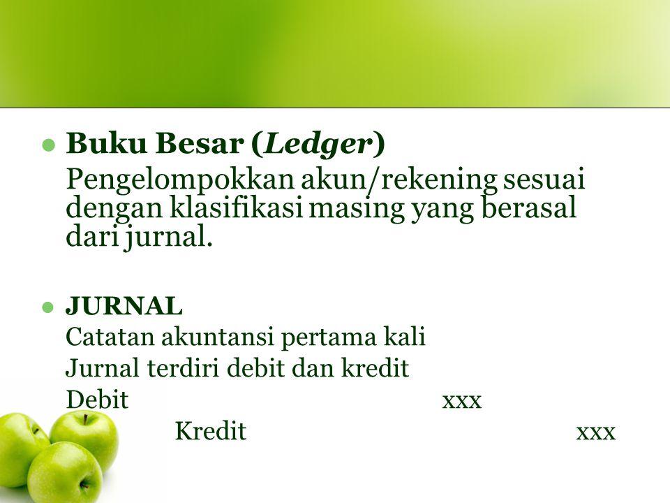 Buku Besar (Ledger) Pengelompokkan akun/rekening sesuai dengan klasifikasi masing yang berasal dari jurnal.
