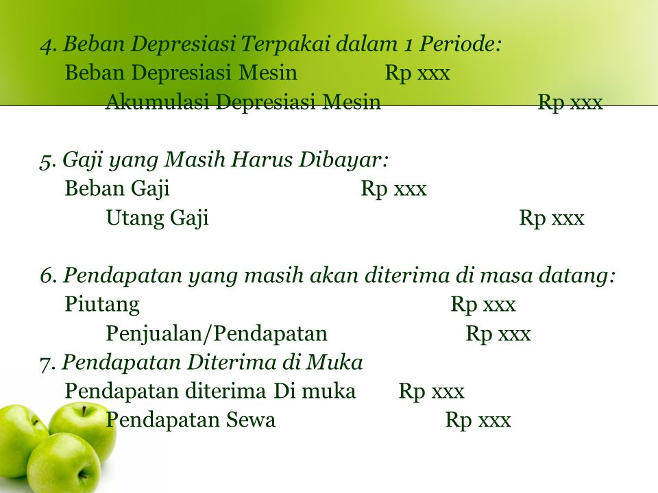 4. Beban Depresiasi Terpakai dalam 1 Periode: