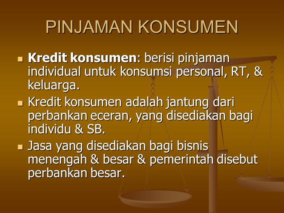 PINJAMAN KONSUMEN Kredit konsumen: berisi pinjaman individual untuk konsumsi personal, RT, & keluarga.
