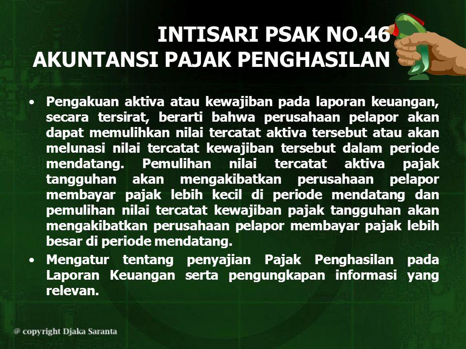 INTISARI PSAK NO.46 AKUNTANSI PAJAK PENGHASILAN