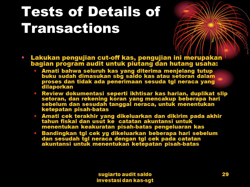 Tests of Details of Transactions
